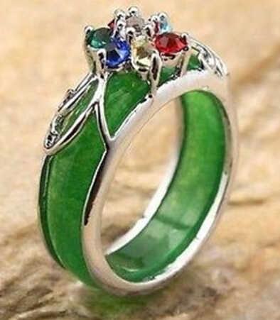 Ddh0092สีเขียวหยกลูกปัดinlayที่มีสีสันคริสตัลชุบเงินแหวน8 #