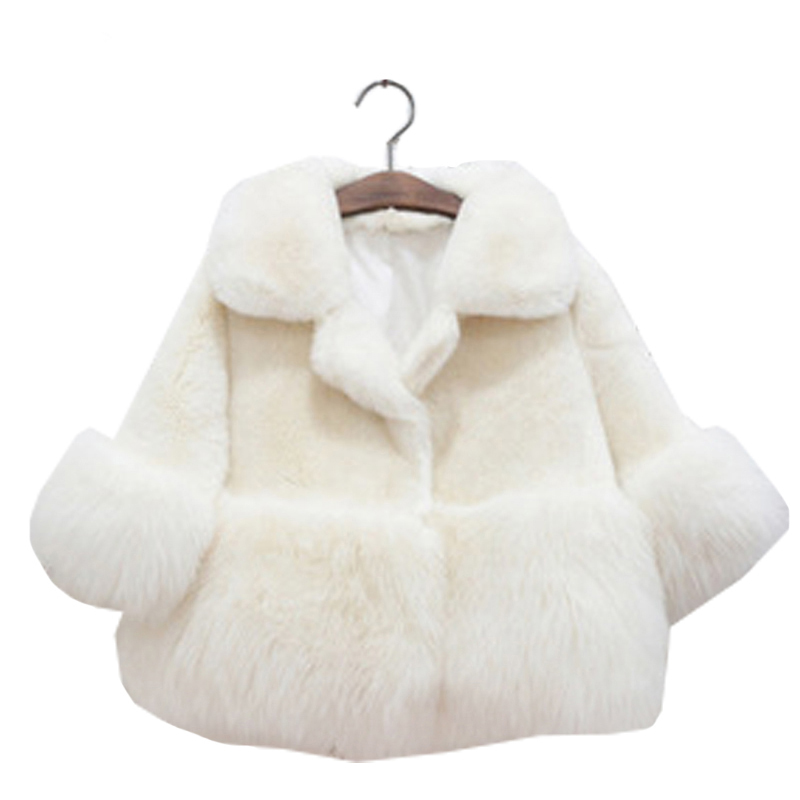 2-10TGirls Winter Coat 2016 Winter Girls Fur White Coats Baby Girls Clothing Kids Girls Fur Coat Thicken Wool Winter Coat