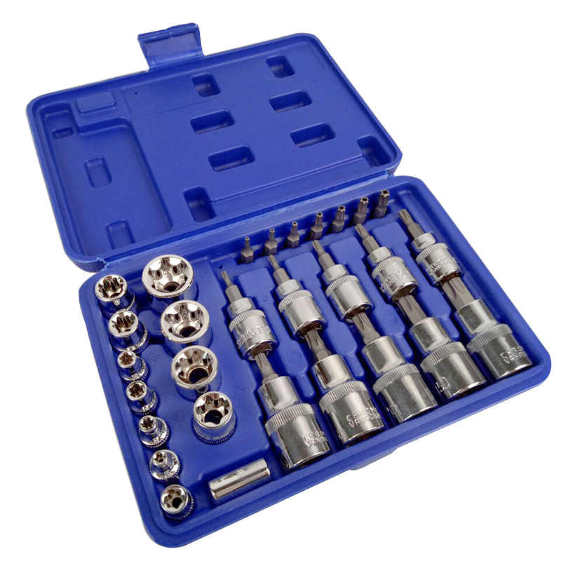 high quality 30PCS pressure batch sleeve group sets head machine motor repair tool  socket set wrench female torx male