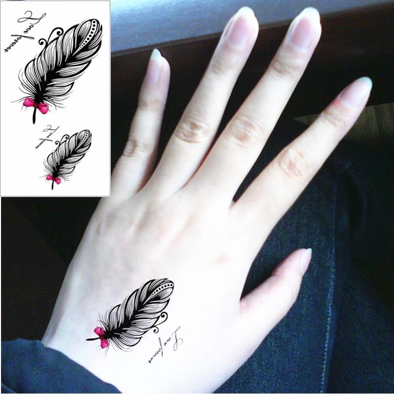 Tatuaje M m-teoría negro plumas flash tatuaje mano pegatina 10.5*6 cm falso