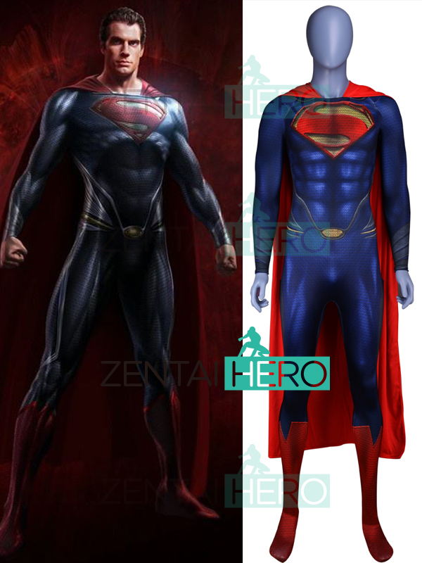 Initiatief In Voorraad 3d Gedrukt Man Van Staal Superman Cosplay Kostuum Spandex Superman Superheld Bodysuit Halloween Zentai Catsuit Met Cape Laatste Stijl