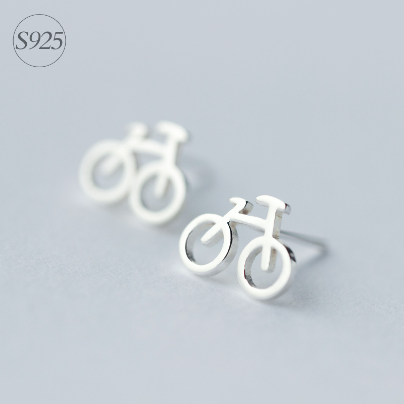 1pair Real. 925 Sterling Silver Bike bicycle Cycle stud Earrings for women girl's Rider Sterling-Silver-Jewelry GTLE633
