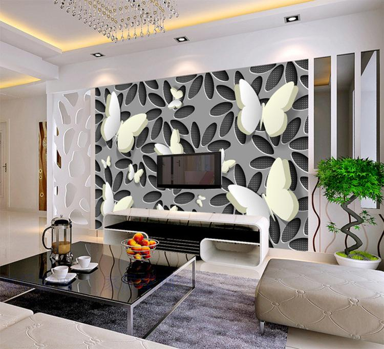 Custom 3D Wallpapers For Wall 3d Butterfly Flower