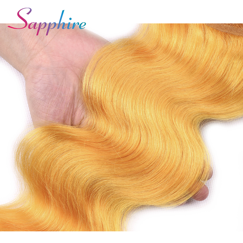 Sapphire Hair Closure Body Wave Remy Human Hair 4*4 Lace Closure Free/Middle/Three Part Yellow Color