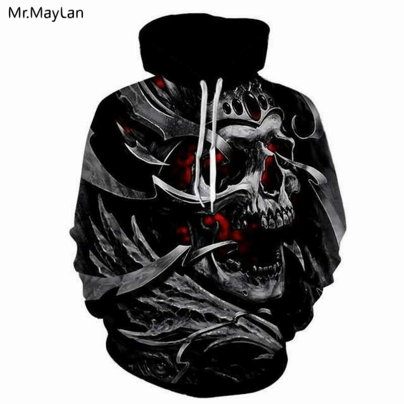 Skull Burning Print 3D Men Women Hoodies Sweatshirts Unisex Coats Hooded Jackets Spring Autumn Black Tracksuits Fashion Pullover