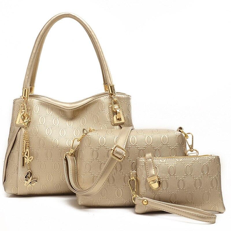 ФОТО 3pc/ set 2015 famous brand  Leather bucket bag  Messenger Bag High quality embossed shoulder bag + Crossbody + clutch bag