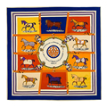 [LESIDA] Fashion Pattern Horse Scarves, Spring And Autumn Multi Foulard Femme Echarpe,Square Twill Silk Shawls And Scarves 1049