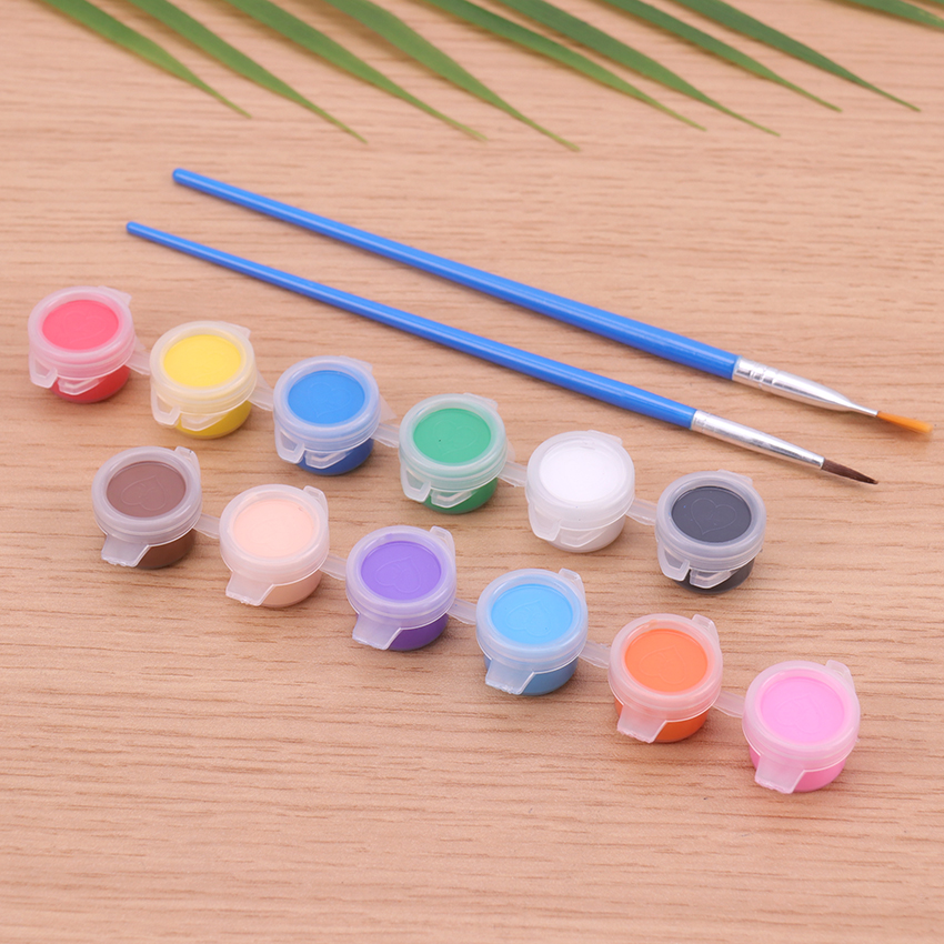 12 Colors Acrylic Paints Water Brush Pigment Set For Clothing Textile Fabric Hand Painted Wall Plaster Painting Drawing For Kids