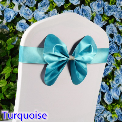 Turquoise colour chair sash wedding mini style butterfly bow tie lycra band stretch bow tie ribbon for chair covers on sale