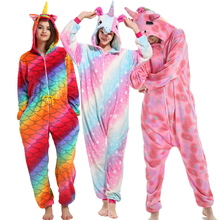 24 New Winter Adult Warm Pajamas Set Flannel Hooded Animal Pegasus Unicorn Women Pyjamas Cartoon Cosplay Men Sleepwear