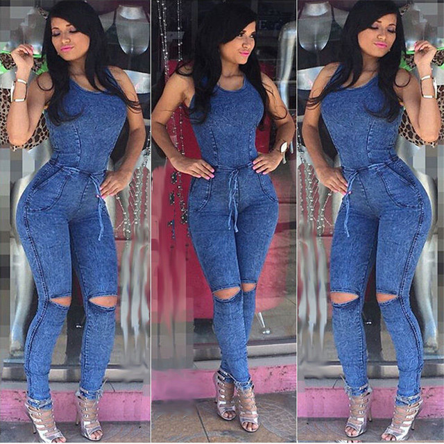 f3aeedd7fa6d New Arrival Women Jumpsuits Jeans European Style Playsuit Women Jumpsuit  Denim Overalls Sexy Rompers Girls Jeans S-L Bodysuit