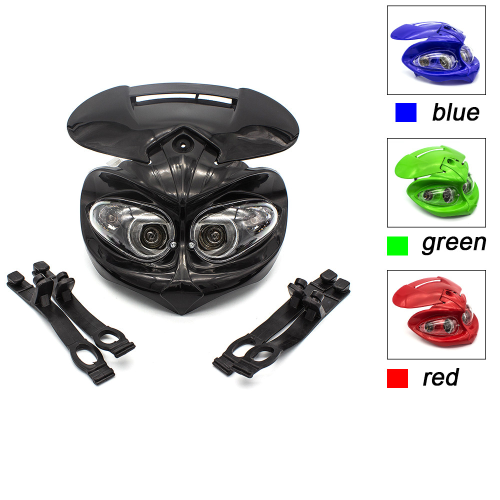 12V 18W Motorcycles Fairing Headlight High Low Beam Dual Universal For Motorcycle Dual Sport Dirt Pit Bike Street Bike