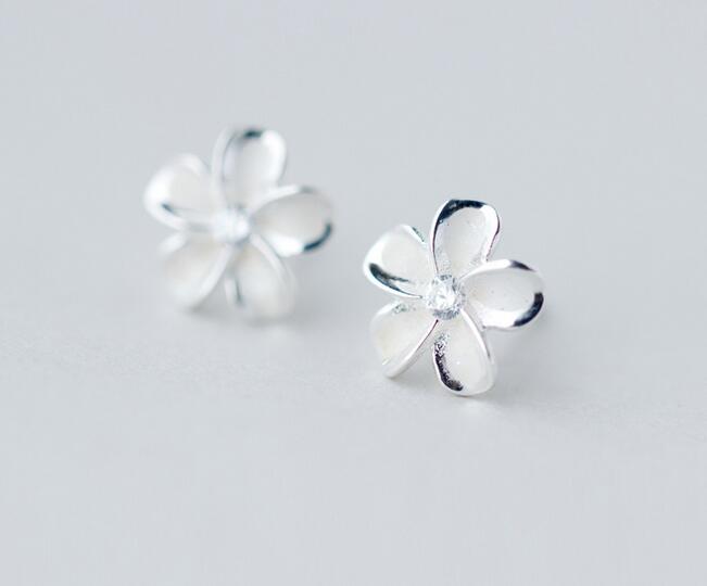 925 Sterling Silver Jewelry White Enamel Flower Hibiscus Plumeria Hawaii Stud Earrings 10mm Gtle1082 In From Accessories On