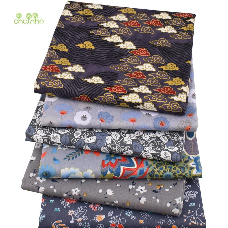 Chainho, 6 шт./лот, темно серый с цветочным, твиловая, хлопковая ткань, одежда в стиле пэчворк, DIY Швейные и Лоскутное Fat кварталы Материал для ребенка и ребенка