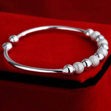 New Arrival Minimal Women's 925 sliver Open Hand Cuff Bangle 9 Lucky Beads Bracelet(China)