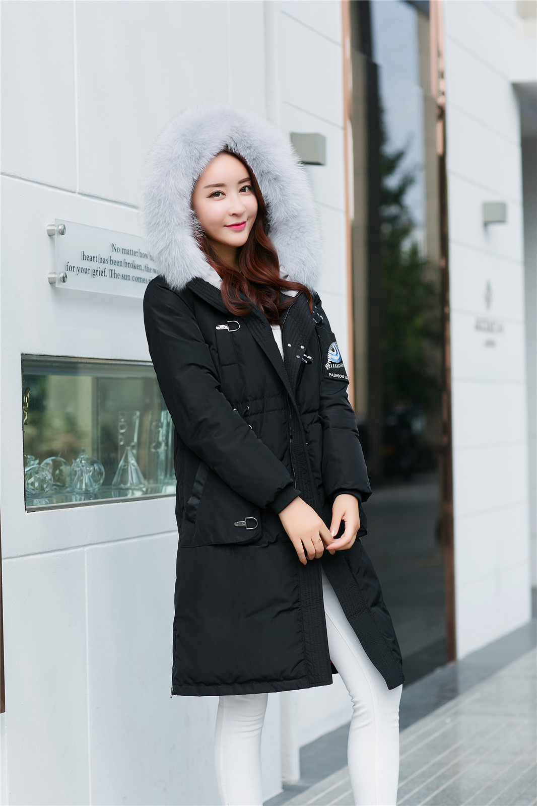 86ab3119cee1 Quality Winter Jacket Women Long Parka Fur Collar Hooded Down Coat ...