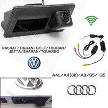 2.4G wireless CCD Macchina fotografica Runk Maniglia Parcheggio Retrovisore Telecamera di Backup per Audi/VW/Passat/Tiguan/Golf/Touran/Jetta/Sharan/Touareg