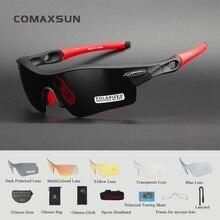 COMAXSUN, Профессиональные поляризованные велосипедные очки, велосипедные очки, спортивные велосипедные солнцезащитные очки, UV 400, с 5 линзами, 5 цветов