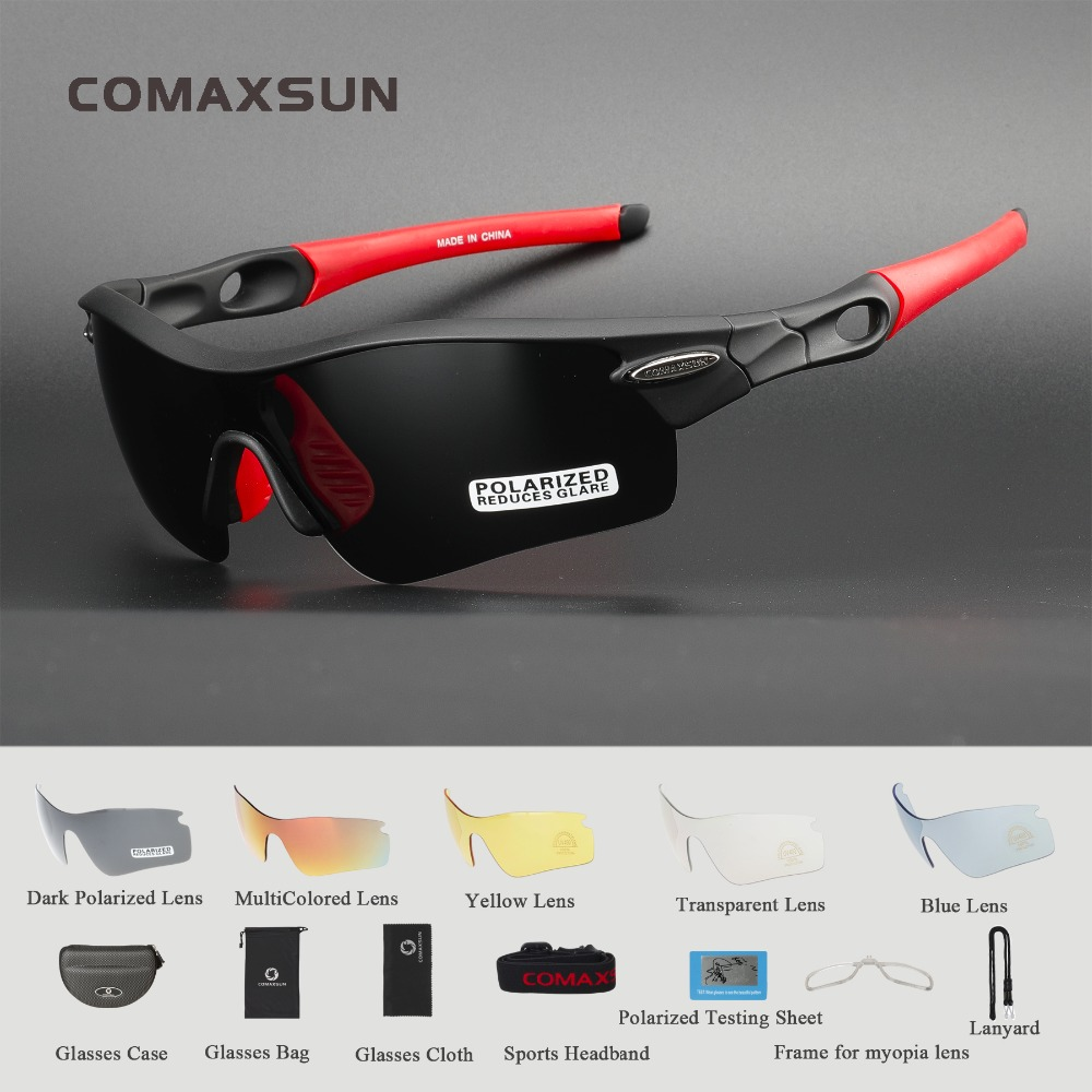 COMAXSUN Professional Polarized Cycling Glasses Bike Goggles Sports Bicycle Sunglasses UV 400 With 5 Lens 5 Color
