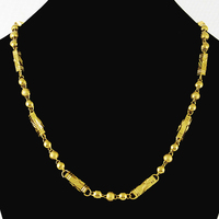 Populaire Pure Goud Kleur 6 MM/53 cm Popcorn Chain Charm Kettingen Kettingen voor Mannen 24 K gold GP Fasion Vintage Ketting sieraden