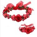 Mulheres Meninas Floral Headband Faixa de Cabelo Boemia Flor Guirlanda Casamento Prom Cabeça envoltório Acessórios de Cabelo de Flor de Pulso 9 Cores