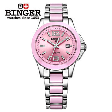 Holiday sale Popular Brand Binger Auto analog Watch Stainless Steel Pink Ceramic lady women Watches Elegant Wristwatch Cute wireless service call bell system popular in restaurant ce passed 433 92mhz full equipment watch pager 1 watch 7 call button