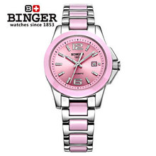 Holiday sale Popular Brand Binger Auto analog Watch Stainless Steel Pink Ceramic lady women Watches Elegant Wristwatch Cute
