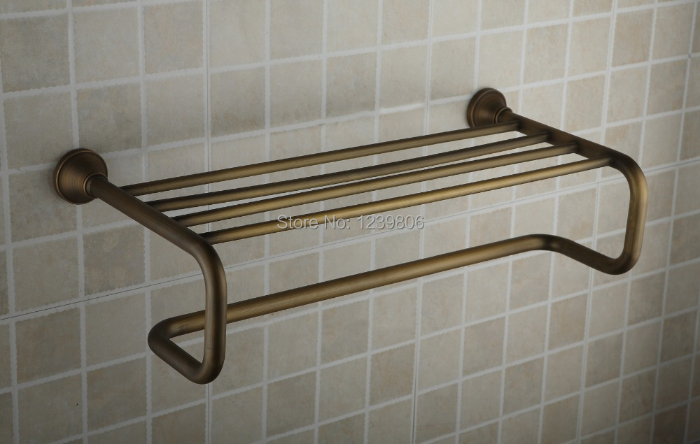 2014 Top Design Antique Bronze Towel Shelf Double Layer