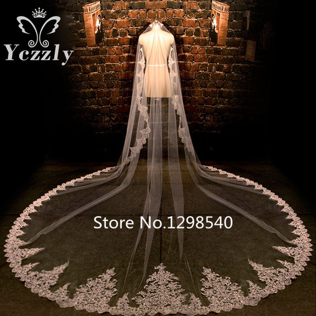 Luxury Sparkly Long Lace Edge Cathedral Wedding Veils With Crystal One Layer Applique Bridal Veil With Sequins Velo Novia WB47