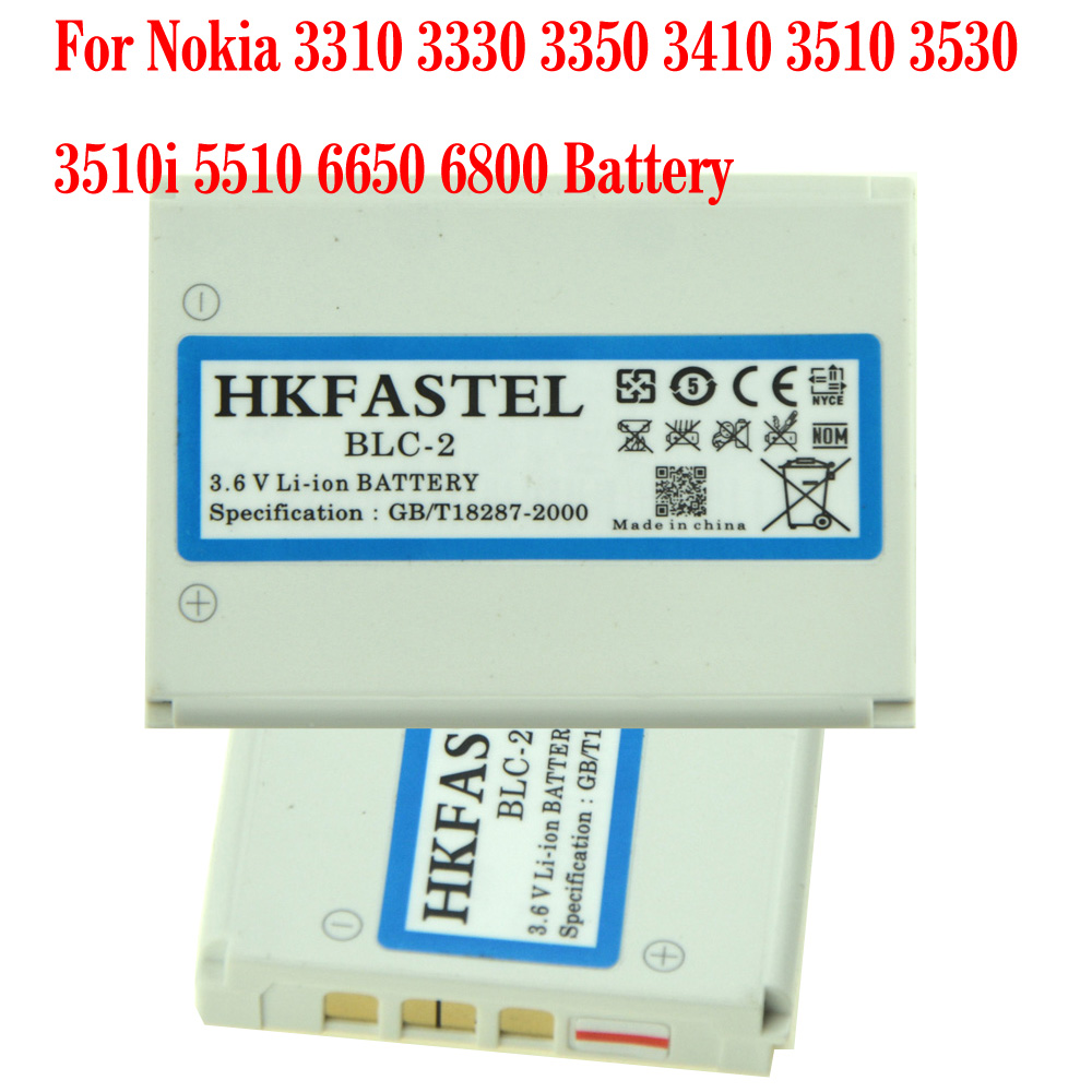 HKFASTEL New BLC-2 BLC2 BLC 2 Battery For Nokia 3310 3330 3350 3410 3510 3530 3510i 5510 6650 <font><b>6800</b></font> Mobile Phone Batteries image