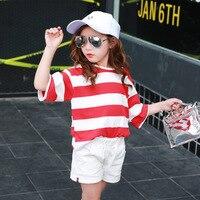2017 Japanese Style Brand Kids Girls Tshirt Fashion Stripes Casual T-Shirt Summer Short t shirts Children blouse Top Tees 3- 14T