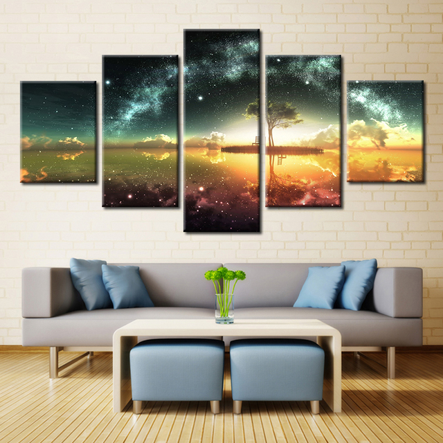 5 Panel Landscape Oil Painting Print on Canvas Seascape Wall Art for ...