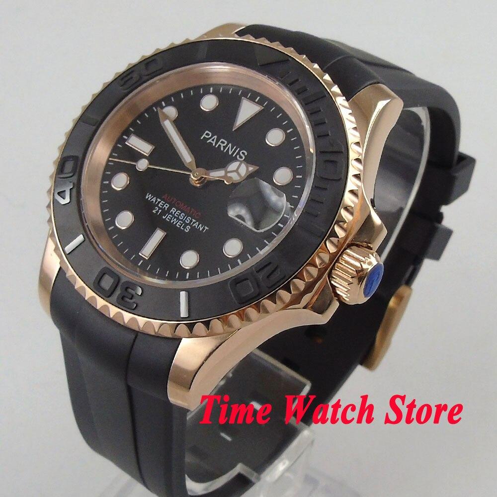 Часы Parnis 41 мм для мужчин смотреть сапфир стекло gold case окошко даты резиновый ремешок 5ATM miyota автоматические наручные часы для мужчин 1016