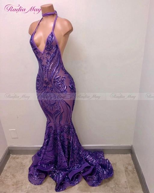 1d9bdce1e Sparkling Sequined Embroidery Purple African Prom Dresses Mermaid 2019 Sexy  V-Neck Backless Long Black Girls Gala Evening Dress