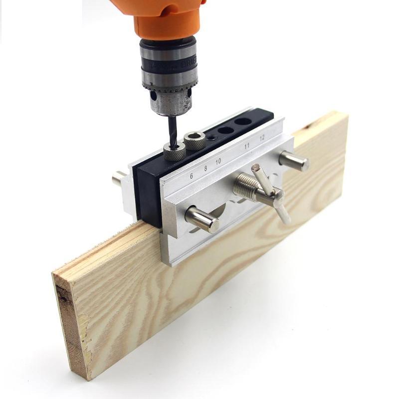 Деревообработка вертикальное отверстие дюбелирование 4 отверстия Карманный джиг набор сверла руководство набор Дырокол локатор Деревообрабатывающие инструменты