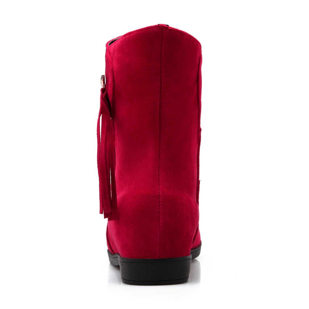 Nữ 2019 Bán Buôn Lông Ấm Áp Mùa Thu Đông Giày Nữ Giày Nữ Đen Đỏ đáng yêu dễ thương Mắt Cá Chân Giày Nữ Giày Nữ