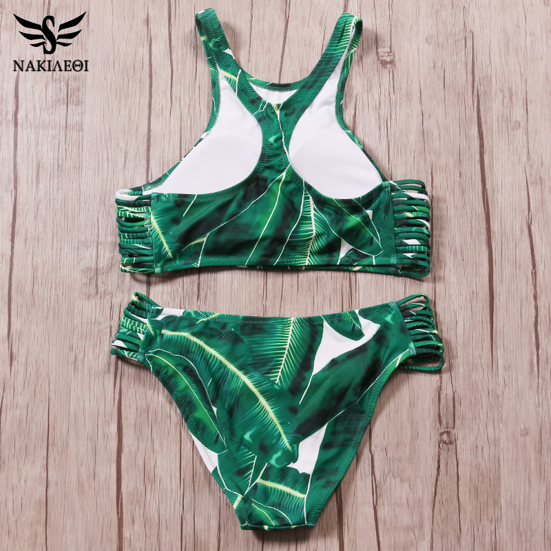 NAKIAEOI-Sexy-High-Neck-Brazilian-Bikini-2017-Swimwear-Women-Swimsuit-Bandage-Green-Leaf-Bikini-Set-Print (1)
