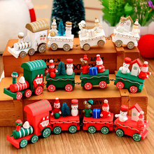 4pcsset christmas santa tree train kids toy mini wooden diecasteducational decoration gift - Train Set For Christmas Tree