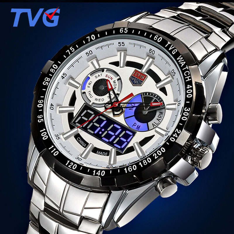 Sport HOT 579 TVG high-end varumärke Klockor Men Led Display Full Steel Quartz Watch Men Fashion Safir Vattentät Militär Klocka