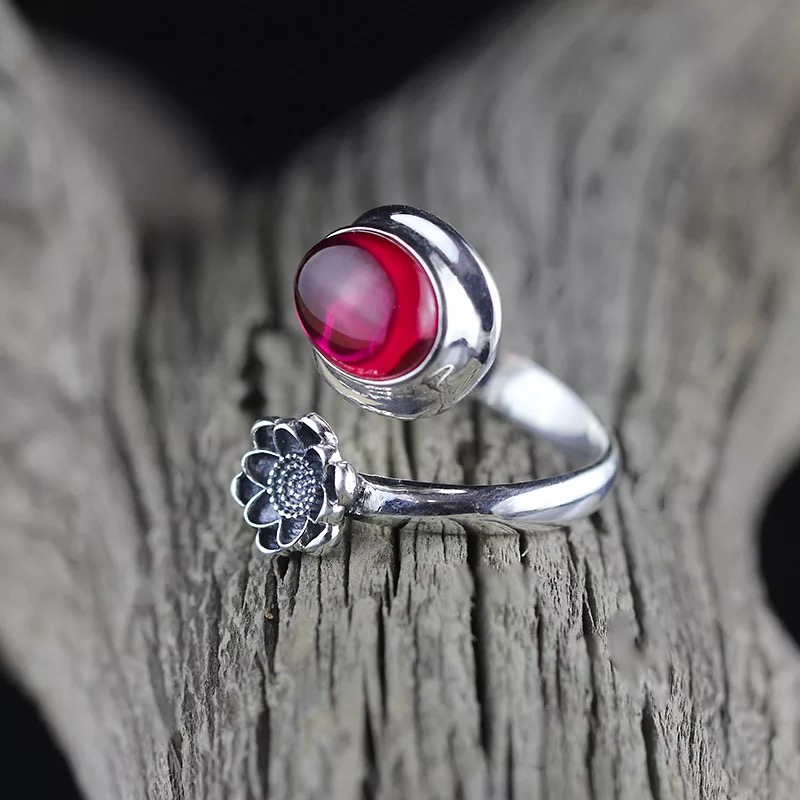 Gemstone Rings For Women Top quality Thai silver 100% 925 Sterling Silver Retro Lutos Adjustable