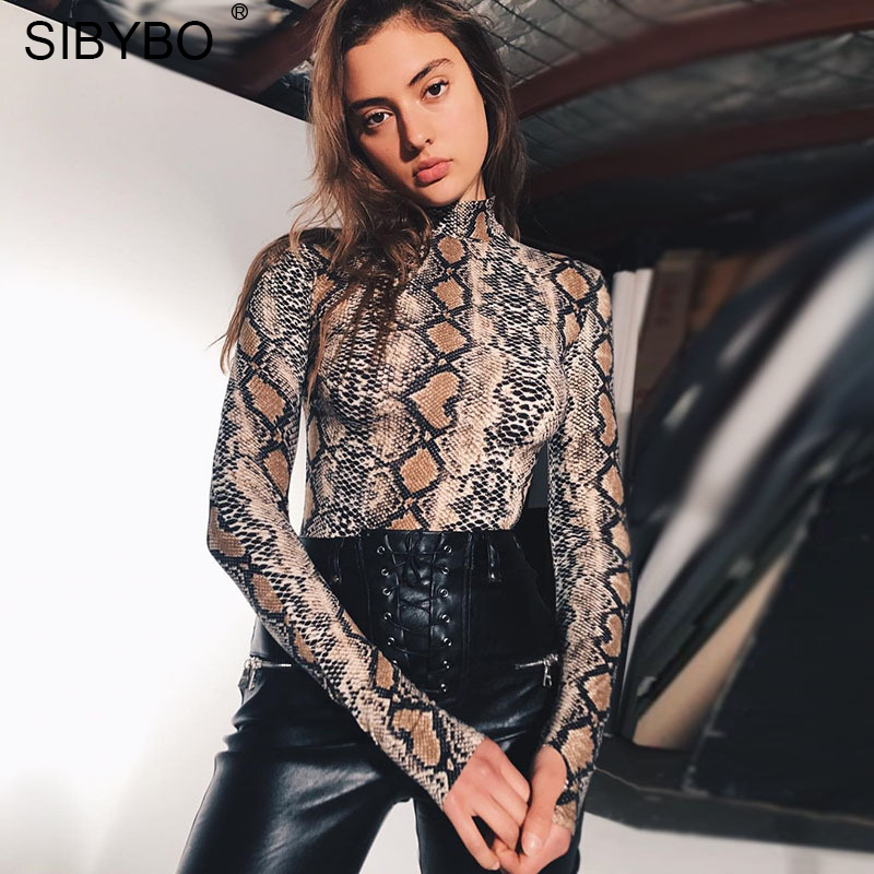 Sibybo Snake Skin Grain Print Bodysuit Women Tops Long Sleeve Autumn Winter Turtleneck Slim Bodysuits Rompers Womens Jumpsuit #3