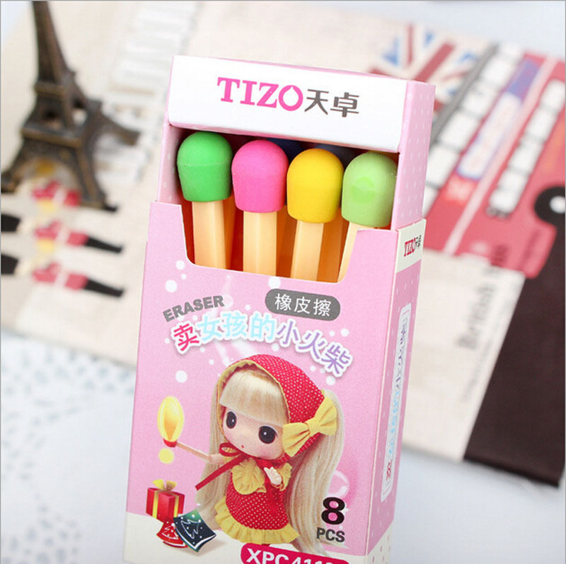 For Kids Students Kids Creative Item Gift  8 Pcs/lot Cute Kawaii Matches Eraser Lovely Colored Eraser Free Shipping