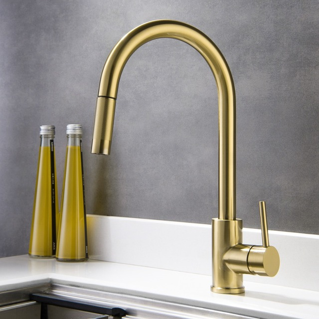 Top Kitchen Faucets La Cornue Brushed Gold Quality Sink Faucet Lead Free All Stainless Steel Pull Down Cold And Hot Mixer