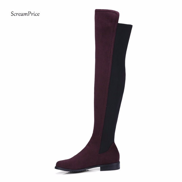 Women Boots Over the Knee Boots Flat Riding High Boots Round Toe Low Heel Shoes Large Size Black Darkgray Wine Armygreen Beige