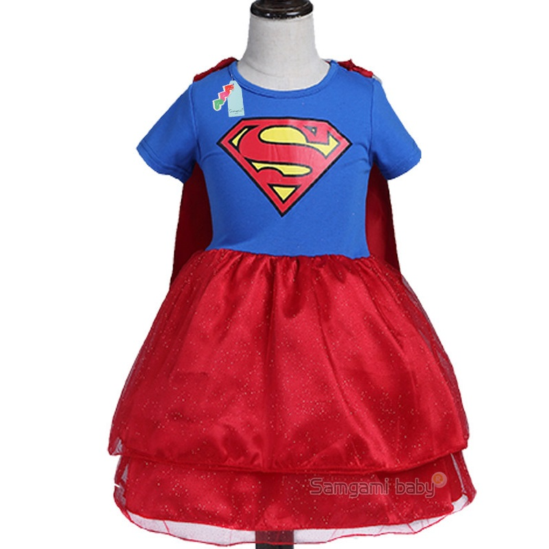 Girls dress new princess dress of the girls Superman lovely hero series of children's cartoon clothes free shipping a few of the girls