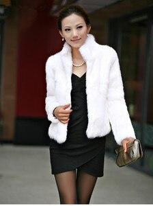 Image 3 - 2019 New Genuine Rabbit Fur Coat women full pelt rabbit fur jacket Winter Fur waistcoat customized big size Stand Collar TFP267