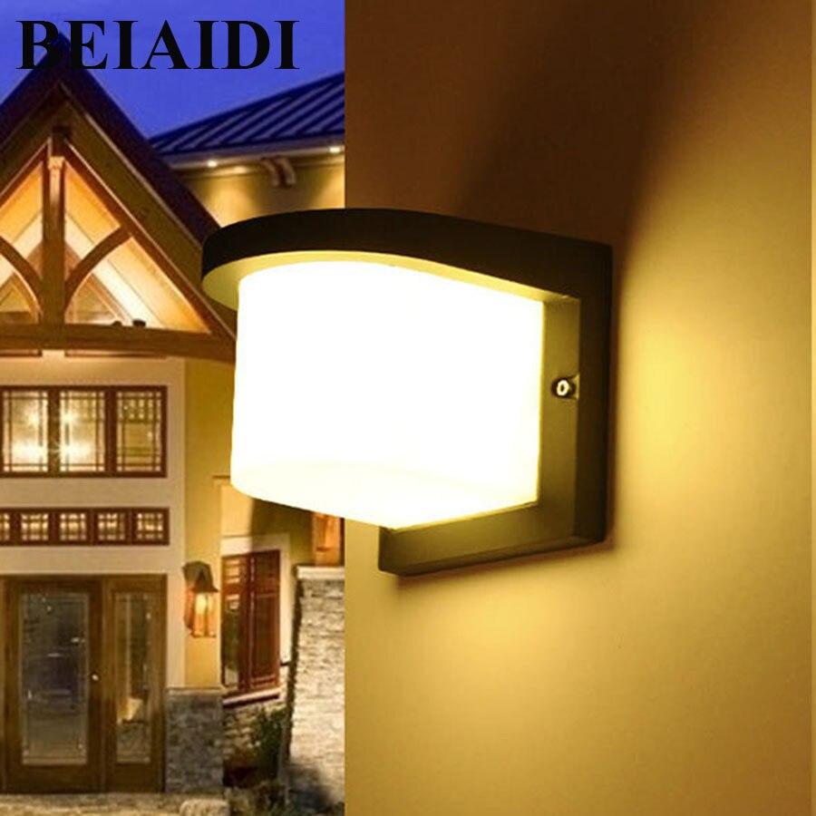 BEIAIDI 10 W Led porche lumières extérieur appliques mur extérieur lumières étanche en aluminium lampes murales pour Villa clôture balcon passerelle