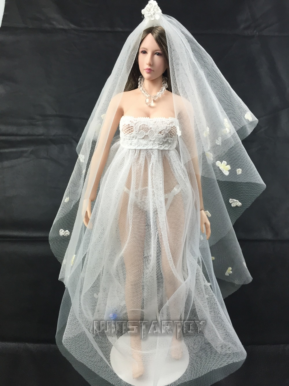 full hand made 1 6 Sexy lace wedding dress B version for Phicen Hot stuff  Jodoll OB UD LD doll action figure DIY-in Action   Toy Figures from Toys    Hobbies ... 7bee52c70253