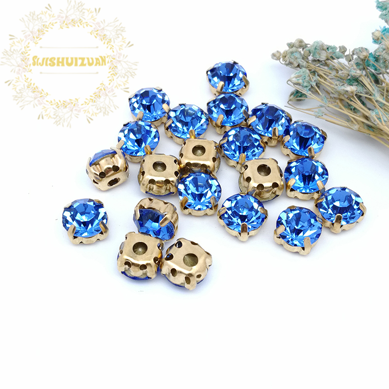 3mm 4mm 5mm 6mm 7mm 8mm Sapphire blue Diamond shape Glass Crystal rhinestones with gold claw Diy wedding dress accessories in Rhinestones from Home Garden