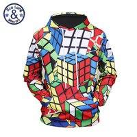 Mr BaoLong New Casual Las Vegas Styles Rubik Cube Full Printing Couples Pullover Hoody Funny Sweatshirt